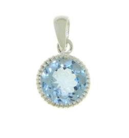 Zilveren hanger met Blauwe Topaas edelsteen