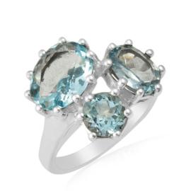 Zilveren ring met Blauwe Topaas edelsteen