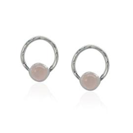 Zilveren oorstekers met Rozenkwarts edelstenen