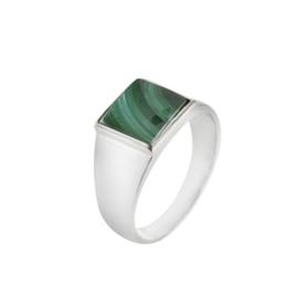 Zilveren ring met Malachiet edelsteen