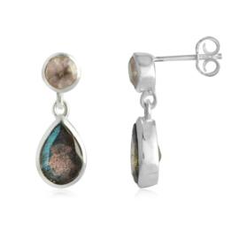 Zilveren oorstekers met Labradoriet