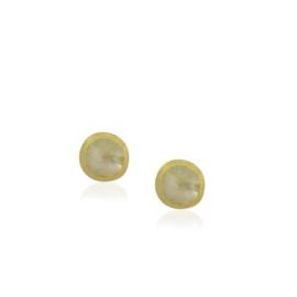 Geel goud vergulde zilveren oorknopjes met Regenboog Maansteen edelstenen