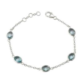 Zilveren armband met Blauwe Topaas edelstenen