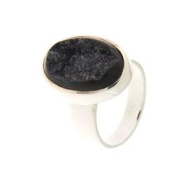 Zilveren ring met Drusiet Agaat edelsteen
