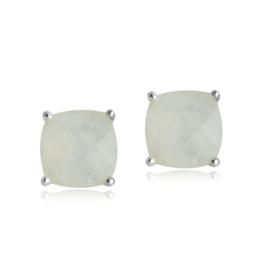 Zilveren oorstekers met Regenboog Maansteen