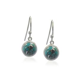 Zilveren oorhangers met Koper Turquoise edelstenen