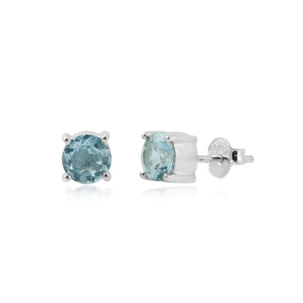 Zilveren oorknopjes met Blauwe Topaas edelstenen