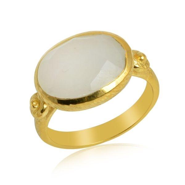 Geel goud vergulde zilveren ring met Regenboog Maansteen