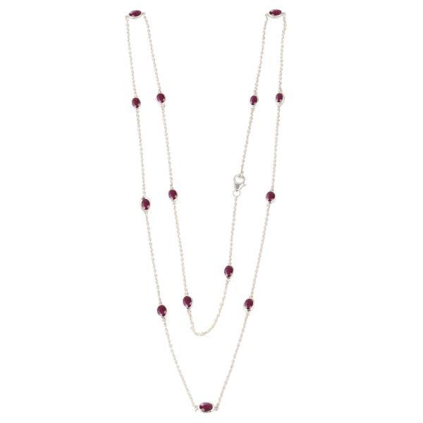 Zilveren collier met Robijn edelstenen
