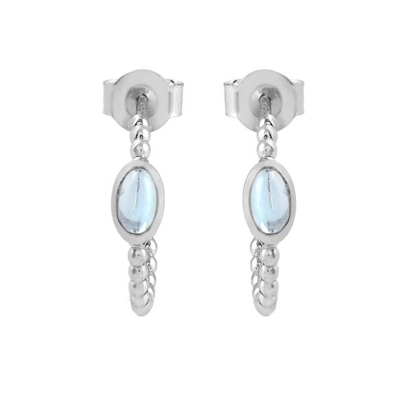 Zilveren creolen met Blauwe Topaas edelstenen