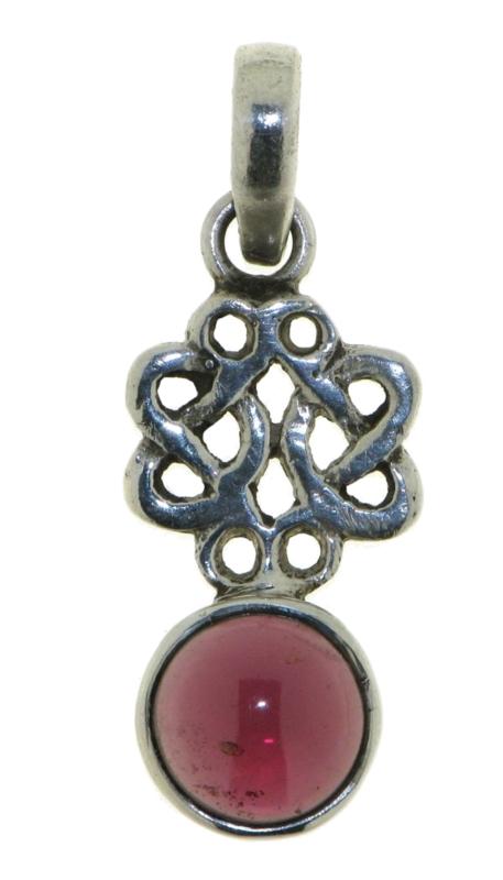 Zilveren oneindige knoop hanger met Granaat edelsteen