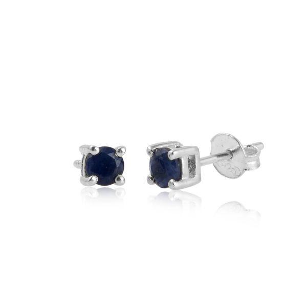 Zilveren oorknopjes met Blauwe Saffier edelstenen