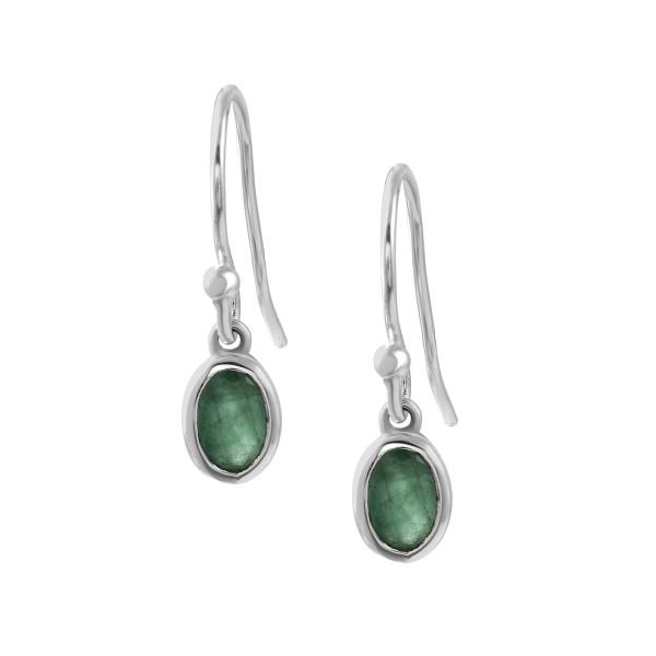 Zilveren oorhangers met Smaragd edelstenen