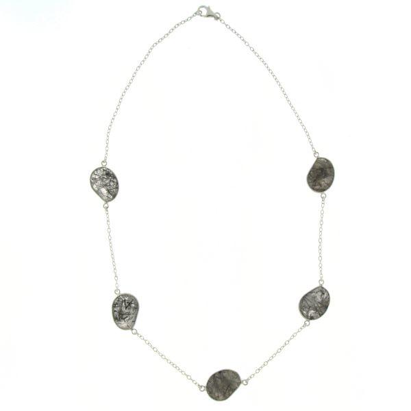 Zilveren collier met Toermalijn Kwarts edelstenen