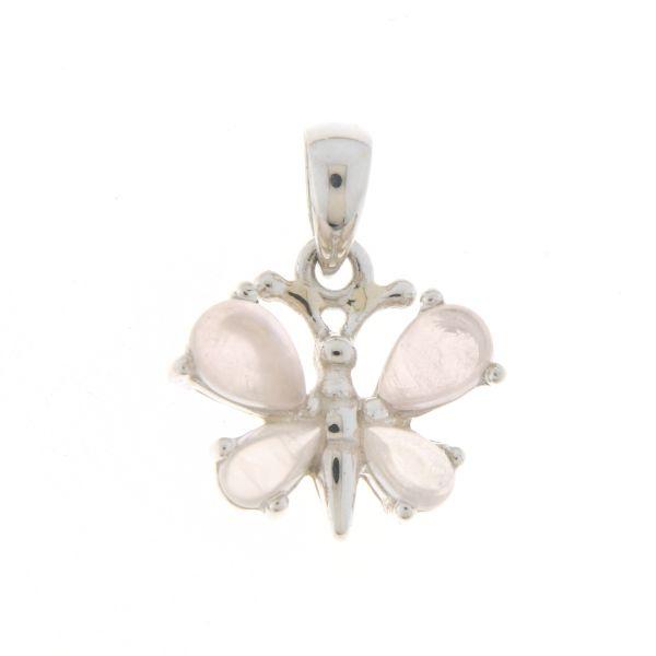 Zilveren vlinder hanger met Rozenkwarts edelstenen