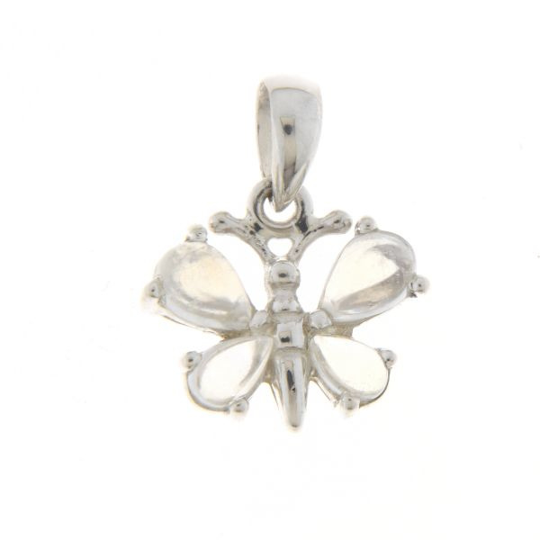 Zilveren vlinder hanger met Regenboog Maansteen edelstenen