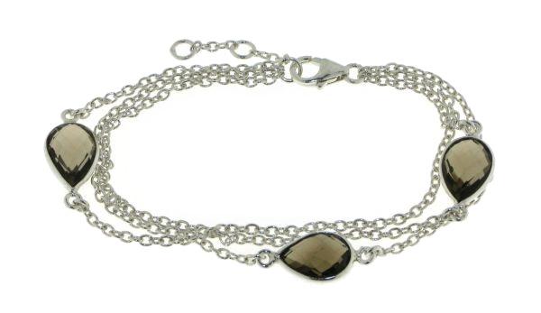 Zilveren armband met Rookkwarts