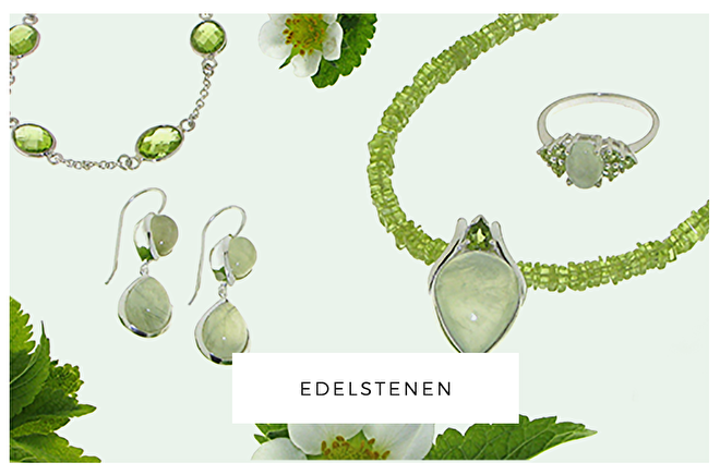 ruime keuze edelstenen sieraden, peridoot, prehniet, zilver, ambachtelijk, handgemaakt, kopen