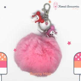 Bunny Hop Pompon - Tas- / sleutelhanger