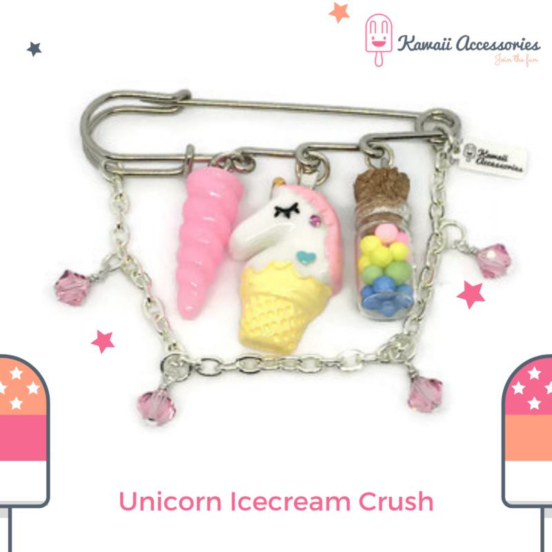 Unicorn Icecream Crush Rainbow - Kawaii broche