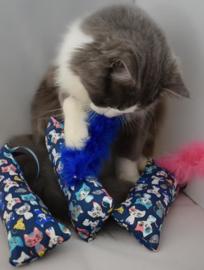 Snuffelzakje gym Blueberry met blauwe staart (gevuld met catnip én valeriaan)