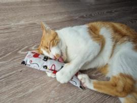 Snuffelzakje gym Kattenkop rood (gevuld met matatabi)
