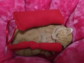 Snuffelzakje rode fleece+ snuffelknoop met lintjes (gevuld met catnip én valeriaan)