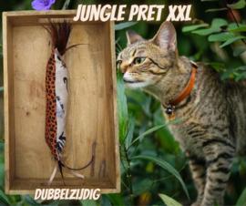 Dubbelzijdig Snuffelzak Gym XXL Jungle pret met lintjes en veertjes(gevuld met catnip/ valeriaan)