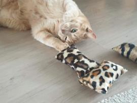 Snuffelzakje tijger, luipaard en jaquar print  (gevuld met catnip) 3 snuffelzakjes