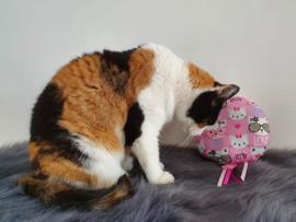 Snuffelballon Kitty met lintjes  geur naar wens(20 cm rond)