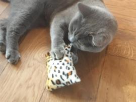 Snuffelzakje tijger, luipaard en jaquar print  (gevuld met catnip én valeriaan) 3 snuffelzakjes