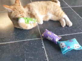 Starterspakket Fleurtje  catnip, valeriaan en matatabi + 1 cadeautjes (3 snuffelzakjes)