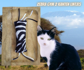 Snuffelzakje gym Zebra met dubbele lintjes (gevuld naar wens)
