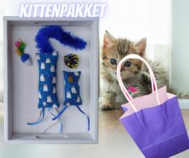 Kittenpakket Blauw (gevuld met catnip/ valeriaan)