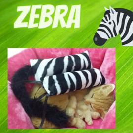 Snuffelzakjeset Zebraprint staart en  lintjes (gevuld met catnip én valeriaan)