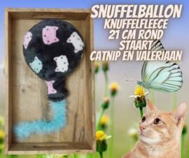 Snuffelballon knuffelfleece met blauwe staart (21 cm rond)