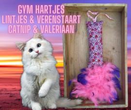 (uitverkocht) Snuffelzakje gym Hartjes  met pluimstaart en veters (gevuld met catnip én valeriaan)