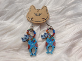 Oorbellen kat  Blauw