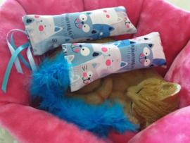 Snuffelzakjeset Happy Blue met staart en lintjes (catnip én valeriaan)