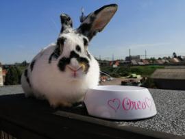 Voer/ drinkbak met naam konijn