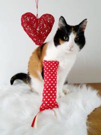 Snuffelzakje gym Valentijn met lintjes (gevuld met catnip én valeriaan)
