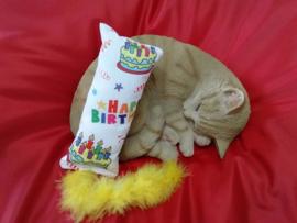 Verjaardag Snuffelzakje gym Happy Birthday met staart (gevuld met catnip én valeriaan)
