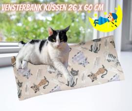 Vensterbankkussen Blije kat  Bruin/grijs 26x60 (catnip én valeriaan)