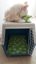 kattenkleed 28x48 + bijpassend snuffelzakje Groene fleurtje