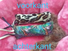 Dubelzijdig Snuffelzakje Tijger met lintjes en staart (gevuld met catnip/valeriaan)