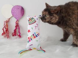 Verjaardag Snuffelzakje gym Happy Birthday met lintjes (gevuld met catnip )