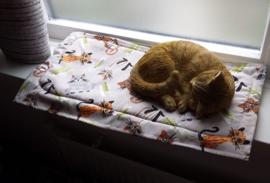 (uitverkocht) Vensterbankkussen Blije kat Oranje/grijs