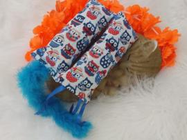 Snuffelzakjeset Zomeruil blauwe staart en lintjes (gevuld met catnip én valeriaan)