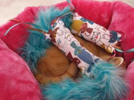 Snuffelzakje Pink and Blue lover  met lintjes en staart (gevuld met catnip én valeriaan en catnip