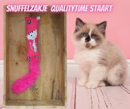 Snuffelzakje gym Qalitytime met roze staart (gevuld met catnip én valeriaan)